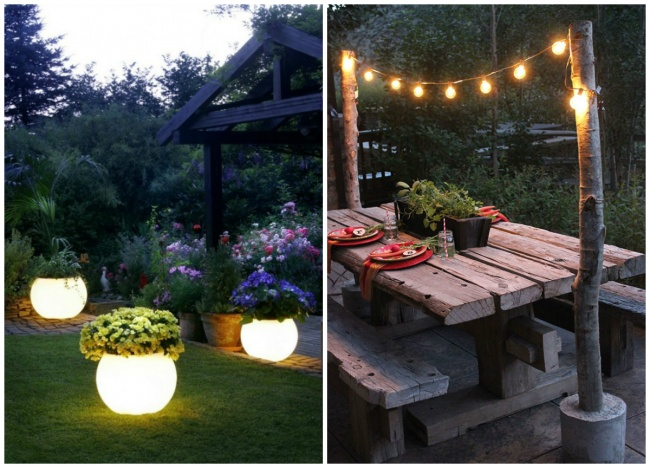 objetos brillantes en el jardín