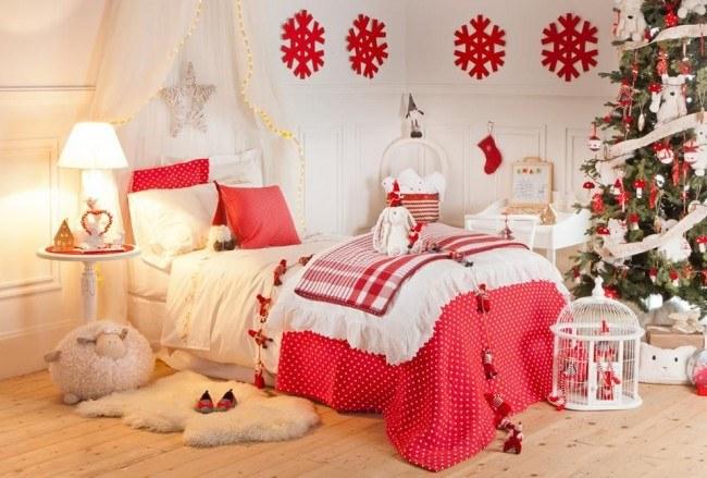Decoración de año nuevo en rojo y blanco.