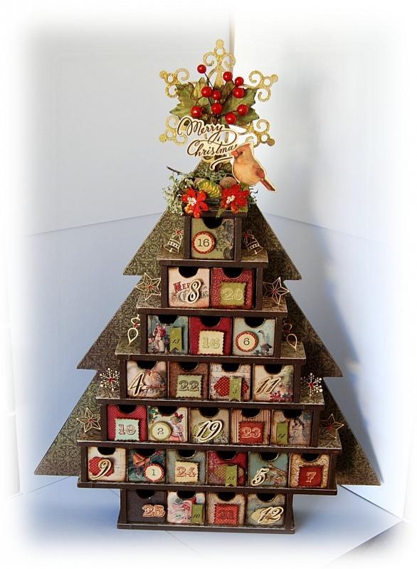 Calendario de eventos en forma de arbol de navidad.