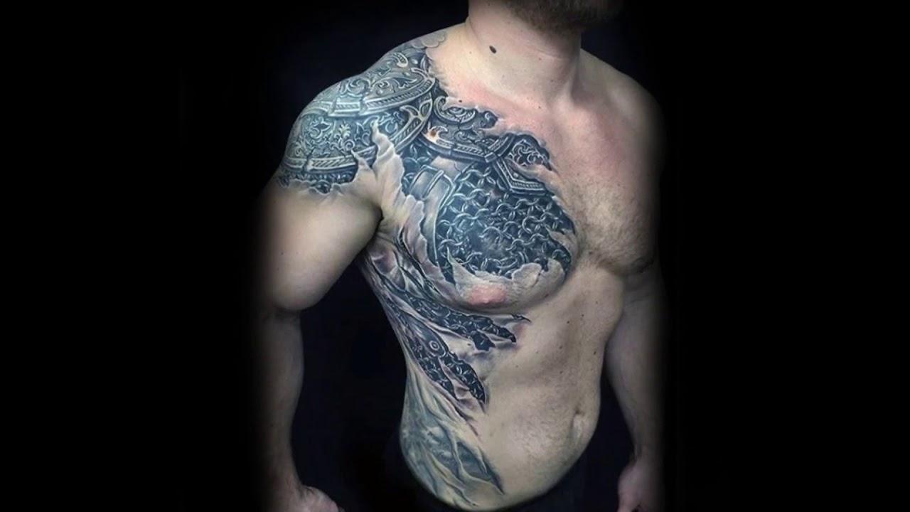 tetování na rameni a hrudníku