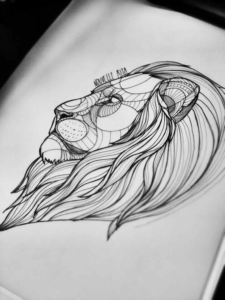 náčrt lví hlavy pro rameno