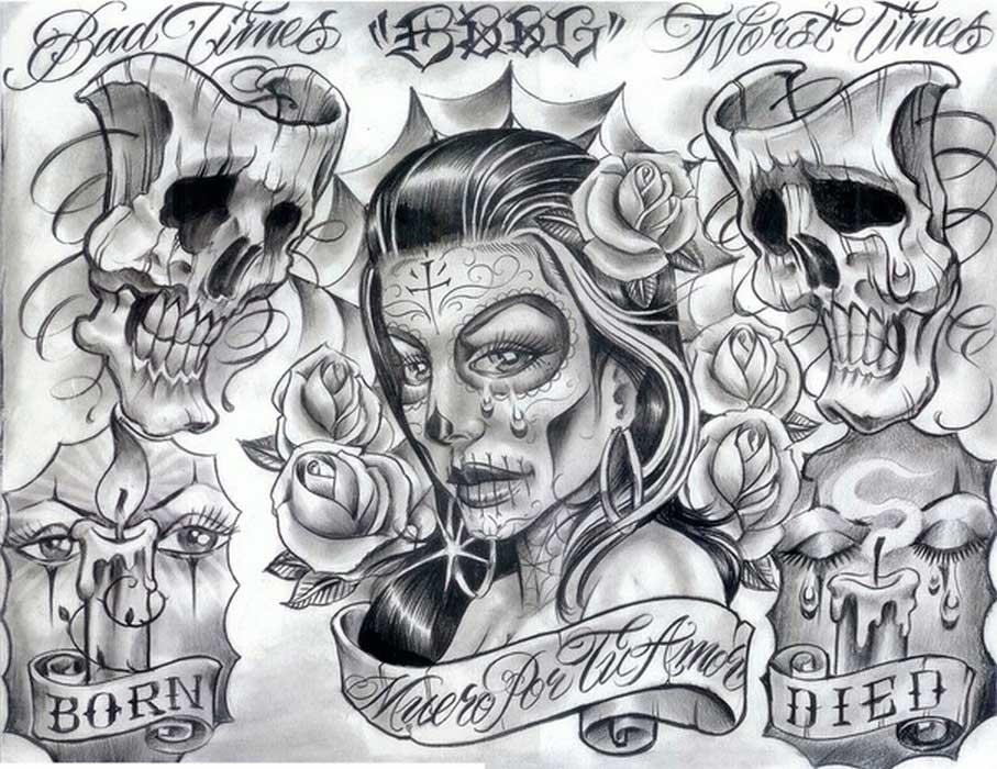 zadní tetování skica